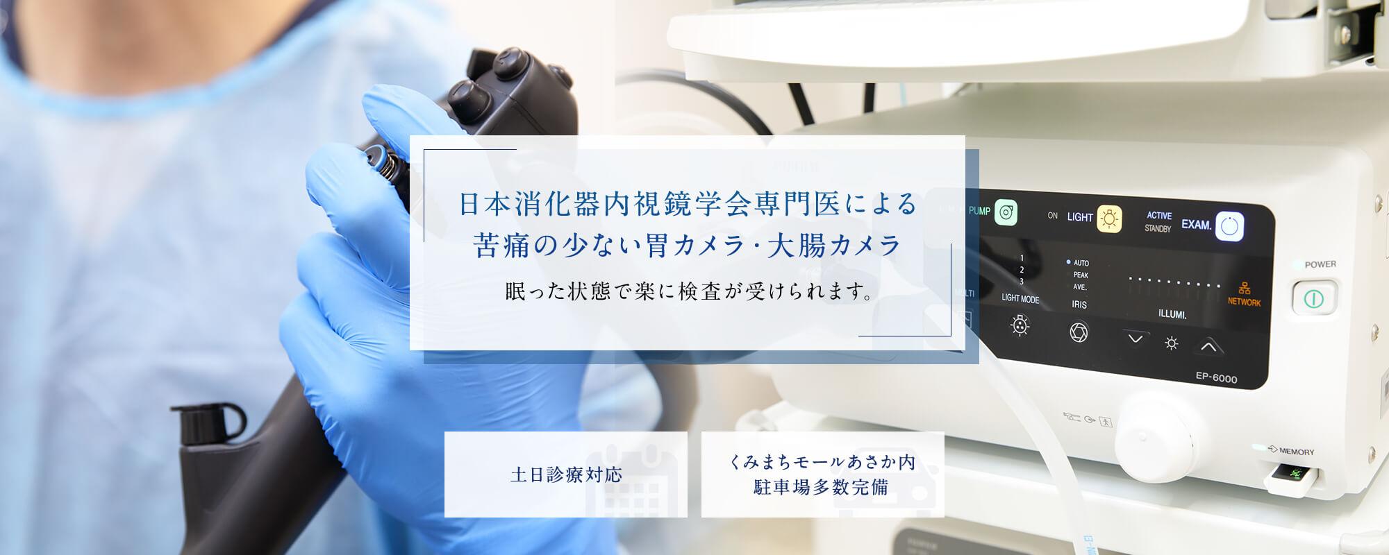 日本消化器内視鏡学会専門医による苦痛の少ない胃カメラ・大腸カメラ 眠った状態で楽に検査が受けられます